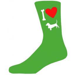 Green Novelty Basset Hound Socks - I Love My Dog Socks
