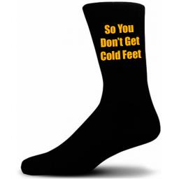 Black Wedding Socks with Yellow So You Don't Get Cold Feet Title Adult size UK 6-12 Euro 39-49