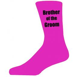 Hot Pink Wedding Socks with Black Brother of The Groom Title Adult size UK 6-12 Euro 39-49