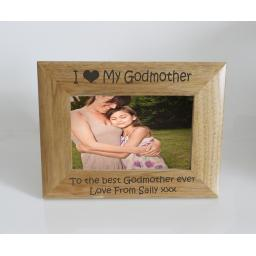 Godmother Photo Frame 6 x 4 - I heart-Love My Godmother 6 x 4 Photo Frame - Free Engraving