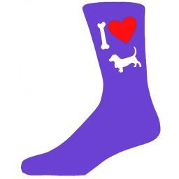 Purple Ladies Novelty Basset Hound Socks- I Love My Dog Socks Luxury Cotton Novelty Socks Adult size UK 5-12 Euro 39-49