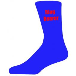 Blue Wedding Socks with Red Ring Bearer Title Adult size UK 6-12 Euro 39-49