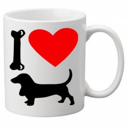 I Love Bassett Dogs on a Quality Mug, Birthday or Christmas Gift Great Novelty 11oz Mug