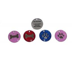 Pink Glitter Bone Pet ID Dog Tag 25mm Disc