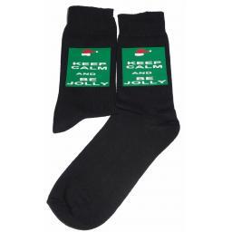 Keep Calm & Be Jolly Socks - Perfect for Christmas/Secret Santa, Great Novelty Socks Luxury Cotton Novelty Socks Adult size UK 6-12 Euro 39-49