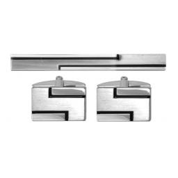 Black line Cufflink and Tie Slide Set A Great High Quality Product