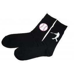 Base Ball and Batsman Socks, Great Novelty Gift Socks Luxury Cotton Novelty Socks Adult size UK 6-12 Euro 39-49