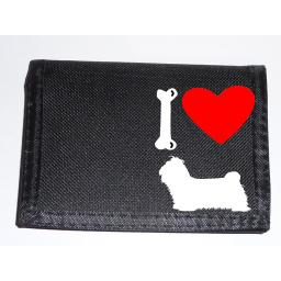 I Love Shi Tzu Dogs on a Black Nylon Wallet, Stunning Birthday, Fathers Day or Christmas Gift