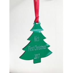 Green Acrylic Hanging tree - Christmas Tree / Home Decor- Free Personalisation