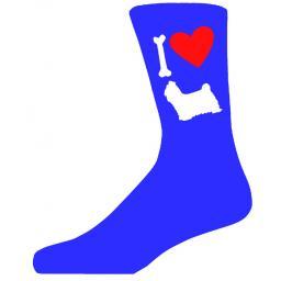 Blue Novelty Shih Tzu Socks - I Love My Dog Socks