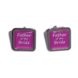 Father of the Bride Hot Pink Square Wedding Cufflinks