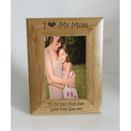 Mom Photo Frame 4 x 6 - I heart-Love My Mom 4 x 6 Photo Frame - Free Engraving