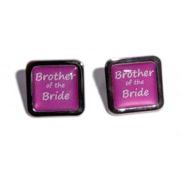 Brother of the Bride Hot Pink Square Wedding Cufflinks