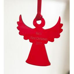 Red Acrylic Hanging Angel - Christmas Tree / Home Decor- Free Personalisation