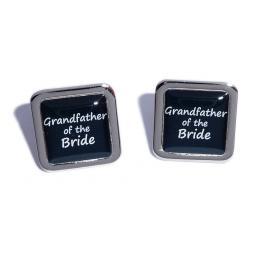 Grandfather of the Bride Black Square Wedding Cufflinks