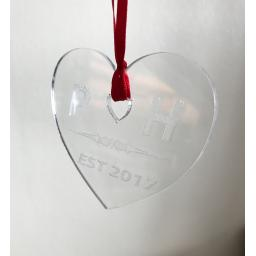 Clear Acrylic Hanging Heart - Christmas Tree / Home Decor- Free Personalisation