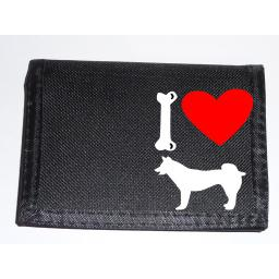 I Love Husky Dogs on a Black Nylon Wallet, Stunning Birthday, Fathers Day or Christmas Gift