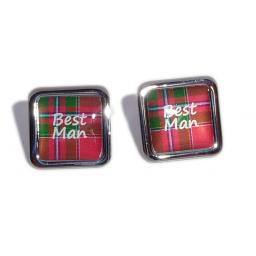 Best Man Red Tartan Square Wedding Cufflinks