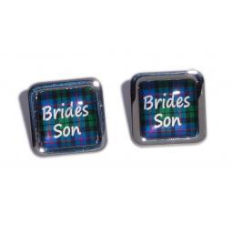 Brides Son Blue Tartan Square Wedding Cufflinks