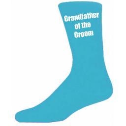 Turquoise Mens Wedding Socks - High Quality Grandfather of the Groom Turquoise Socks (Adult 6-12)