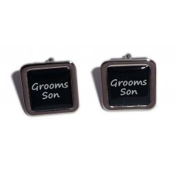 Grooms Son Black Square Wedding Cufflinks