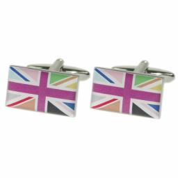 Multicoloured Union Jack Flag Cufflinks (BOCF63)