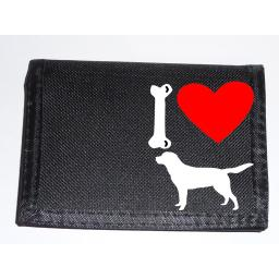 I Love Labrador Dogs on a Black Nylon Wallet, Stunning Birthday, Fathers Day or Christmas Gift