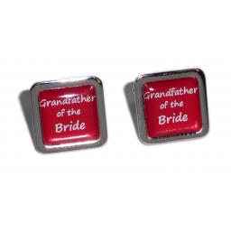 Grandfather of the Bride Red Square Wedding Cufflinks