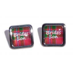 Brides Son Red Tartan Square Wedding Cufflinks
