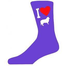 Purple Ladies Novelty Collie Socks- I Love My Dog Socks Luxury Cotton Novelty Socks Adult size UK 5-12 Euro 39-49