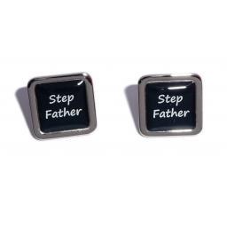 Stepfather Black Square Wedding Cufflinks