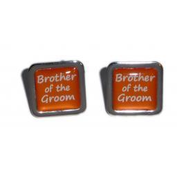 Brother of the Groom Orange Square Wedding Cufflinks