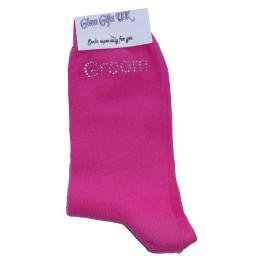 Hot Pink Wedding Socks - Groom's Son In Clear Sparkely AB Crystals