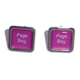 Page Boy Hot Pink Square Wedding Cufflinks