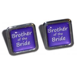 Brother of the Bride Purple Square Wedding Cufflinks