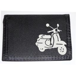 White Scooter on a Black Nylon Wallet, Funky Birthday, Fathers Day or Christmas Gift