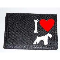 I Love Schnauzer Dogs on a Black Nylon Wallet, Stunning Birthday, Fathers Day or Christmas Gift