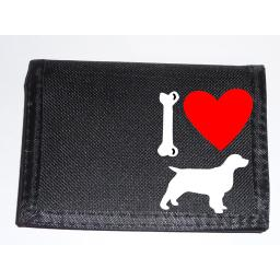 I Love Spaniel Dogs on a Black Nylon Wallet, Stunning Birthday, Fathers Day or Christmas Gift