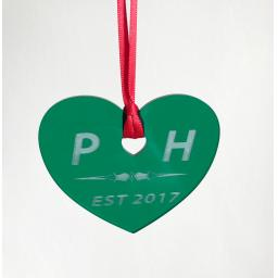 Green Acrylic Hanging Heart - Christmas Tree / Home Decor- Free Personalisation