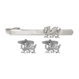 Dragon Cut-out Cufflink and Tie Bar Set All our cufflinks come presented in a gift box