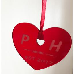 Red Acrylic Hanging Heart - Christmas Tree / Home Decor- Free Personalisation