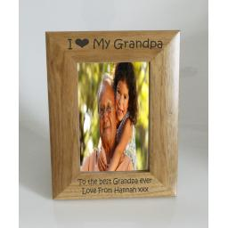 Grandpa Photo Frame 4 x 6 - I heart-Love My Grandpa 4 x 6 Photo Frame - Free Engraving