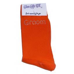 Orange Wedding Socks - Grooms Man In Clear Sparkely AB Crystals