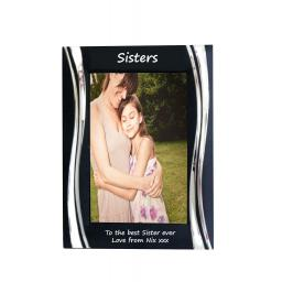 Sisters Black Metal 4 x 6 Frame - Personalise this frame - Free Engraving