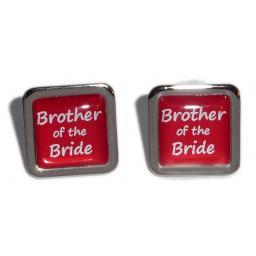 Brother of the Bride Red Square Wedding Cufflinks