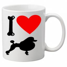 I Love Poodle Dogs on a Quality Mug, Birthday or Christmas Gift Great Novelty 11oz Mug