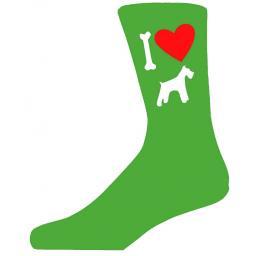Green Novelty Schnauzer Socks - I Love My Dog Socks