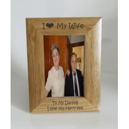 Wife Photo Frame 4 x 6 - I heart-Love My Wife 4 x 6 Photo Frame - Free Engraving