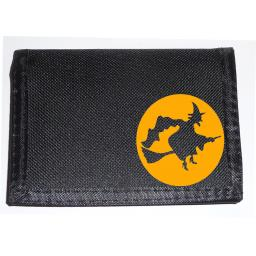 Witch Crossing the Moon on a Black Nylon Wallet, Birthday, Halloween or Christmas Gift