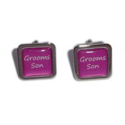 Grooms Son Hot Pink Square Wedding Cufflinks